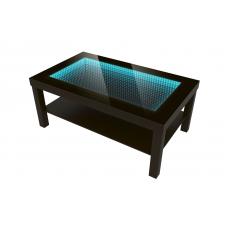 Nowoczesny stolik szklany z efektem głębi 90x55 LED 3D Wenge